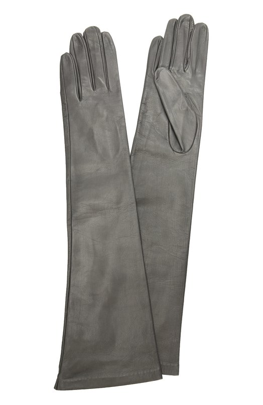 Длинные кожаные перчатки Sermoneta GlovesПерчатки<br>Длинные темно-серые перчатки сшиты вручную в итальянской мастерской марки, основанной Джорджио Сермонета. Для создания аксессуара, плотно облегающего руку, была использована мягкая матовая кожа, для подкладки — гладкий шелк.<br><br>Российский размер RU: 6<br>Пол: Женский<br>Возраст: Взрослый<br>Размер производителя vendor: 6-5<br>Материал: Подкладка-шелк: 100%; Кожа натуральная: 100%;<br>Цвет: Темно-серый