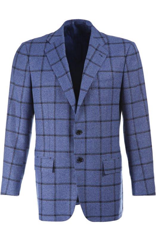 Однобортный пиджак в клетку из смеси кашемира и шелка Kiton