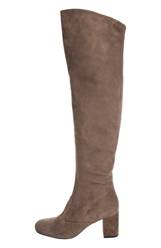 Замшевые ботфорты Babies на устойчивом каблуке Saint LaurentСапоги<br>Модель Babies из эластичной тонкой замши бежевого цвета вошла в осенне-зимнюю коллекцию марки, основанной Ивом Сен-Лораном. Ботфорты с круглым мысом, на устойчивом каблуке дополнены короткой молнией на внутренней стороне голенища.<br><br>Российский размер RU: 40<br>Пол: Женский<br>Возраст: Взрослый<br>Размер производителя vendor: 40-5<br>Материал: Стелька-кожа: 100%; Подошва-кожа: 100%; Замша натуральная: 100%;<br>Цвет: Бежево-серый