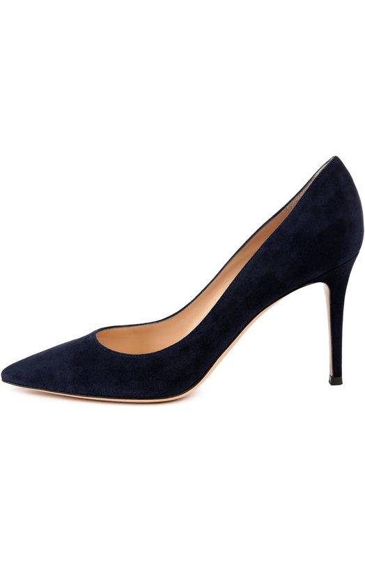 Купить Замшевые туфли Gianvito 85 на шпильке Gianvito Rossi, G24580/SUEDE, Италия, Темно-синий, Стелька-кожа: 100%; Подошва-кожа: 100%; Замша натуральная: 100%;