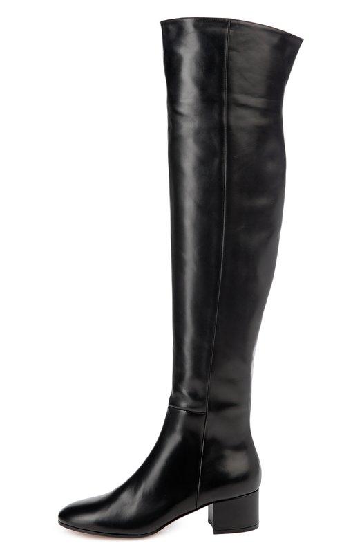 Кожаные ботфорты Rolling на устойчивом каблуке Gianvito RossiСапоги<br>Черные ботфорты Rolling вошли в коллекцию сезона осень-зима 2016 года. Для изготовления модели Джанвито Росси выбрал мягкую гладкую кожу с легким матовым блеском. Обувь на невысоком устойчивом каблуке застегивается на короткую молнию с внутренней стороны.<br><br>Российский размер RU: 38<br>Пол: Женский<br>Возраст: Взрослый<br>Размер производителя vendor: 38<br>Материал: Кожа натуральная: 100%; Стелька-кожа: 100%; Подошва-кожа: 100%; Подошва-резина: 100%;<br>Цвет: Черный