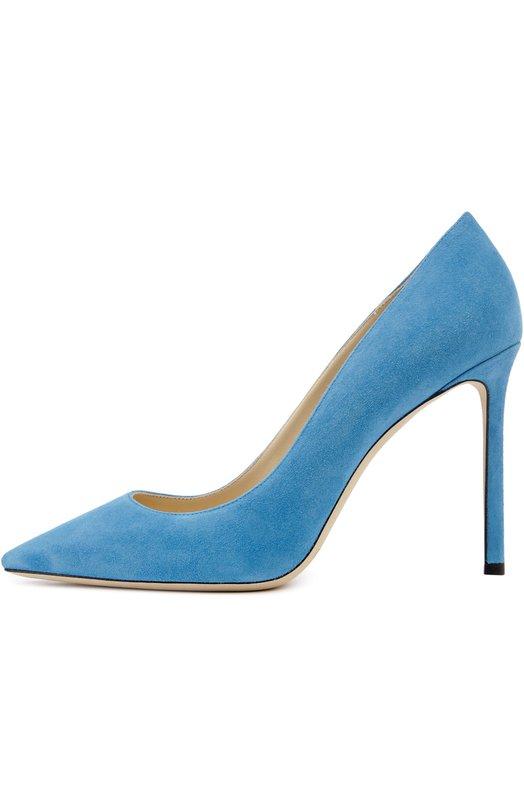 Замшевые туфли Romy на шпильке Jimmy ChooТуфли<br>Мастера марки, основанной Джимми Чу, сшили модель Romy из мягкой бархатистой замши голубого цвета. Элегантные туфли с зауженным мысом выпускаются со шпилькой разной высоты. Эта пара из осенне-зимнюю коллекцию 2016 года дополнена максимально высоким для этой модели каблуком.<br><br>Российский размер RU: 37<br>Пол: Женский<br>Возраст: Взрослый<br>Размер производителя vendor: 37<br>Материал: Стелька-кожа: 100%; Подошва-кожа: 100%; Замша натуральная: 100%;<br>Цвет: Голубой
