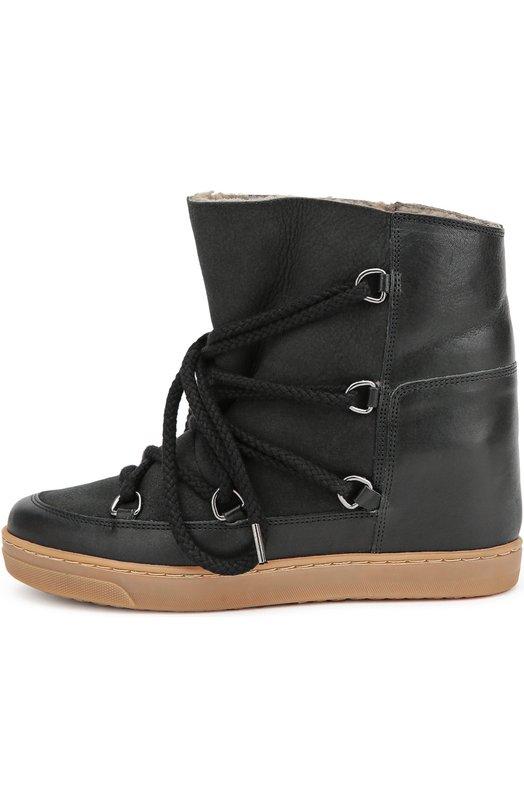 Кожаные кеды на скрытой платформе Isabel Marant EtoileКеды<br>Для создания модели Nowles Изабель Маран выбрала матовую кожу черного цвета. Утепленные мягкой овчиной сапоги из осенне-зимней коллекции 2016 года дополнены скрытой платформой. Шнурок, фиксирующий обувь на ноге, продет через крупные металлические люверсы.<br><br>Российский размер RU: 37<br>Пол: Женский<br>Возраст: Взрослый<br>Размер производителя vendor: 37<br>Материал: Кожа натуральная: 100%; Подошва-резина: 100%; Стелька-овчина: 100%;<br>Цвет: Черный