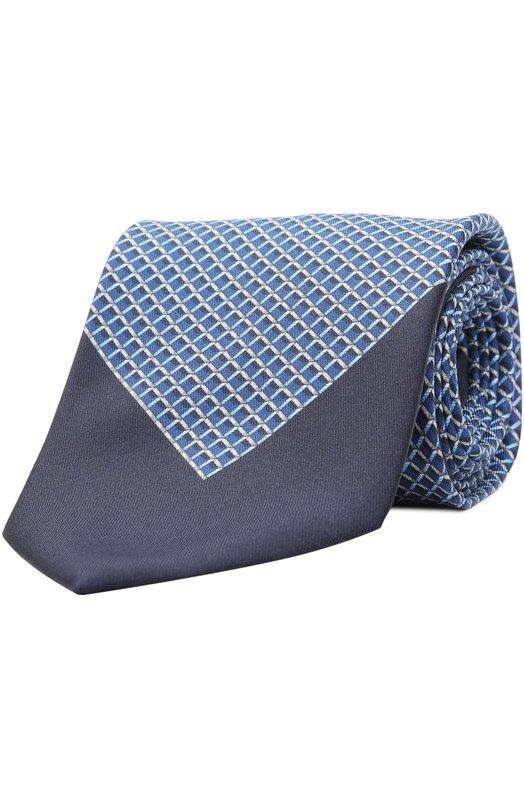 Купить Шелковый галстук с узором Brioni, 063I/P441H, Италия, Синий, Шелк: 100%;