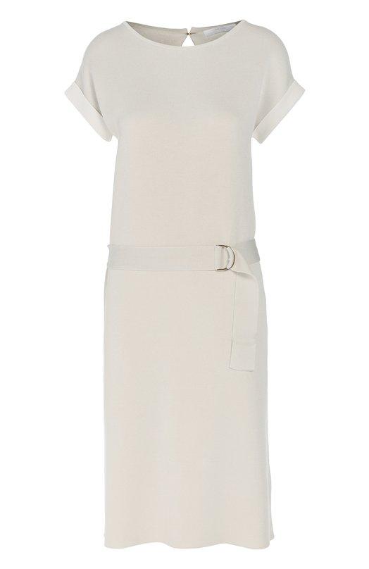 Трикотажное платье прямого кроя с поясом BOSSПлатья<br><br><br>Российский размер RU: 48<br>Пол: Женский<br>Возраст: Взрослый<br>Размер производителя vendor: L<br>Материал: Вискоза: 69%; Хлопок: 31%;<br>Цвет: Светло-серый