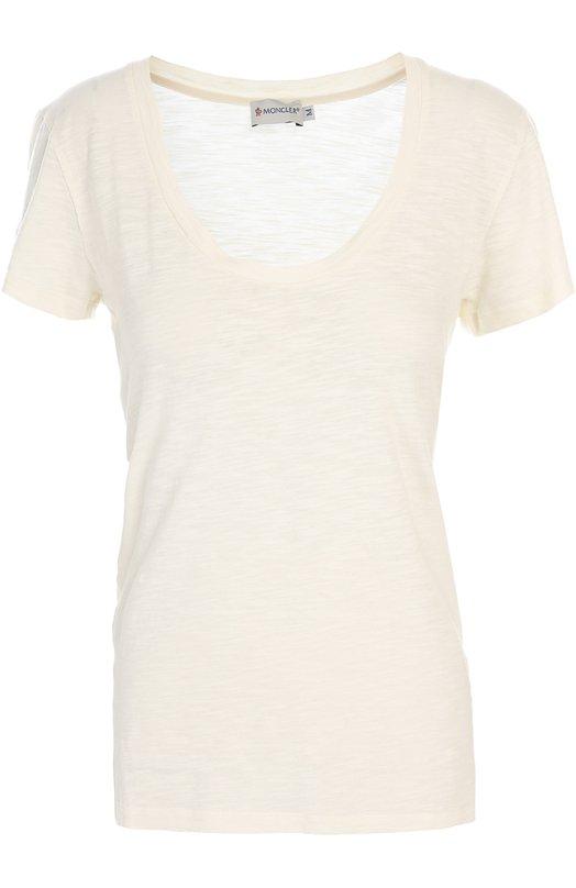 Хлопковая футболка с круглым вырезом MonclerФутболки<br><br><br>Российский размер RU: 42<br>Пол: Женский<br>Возраст: Взрослый<br>Размер производителя vendor: XS<br>Материал: Хлопок: 100%;<br>Цвет: Белый