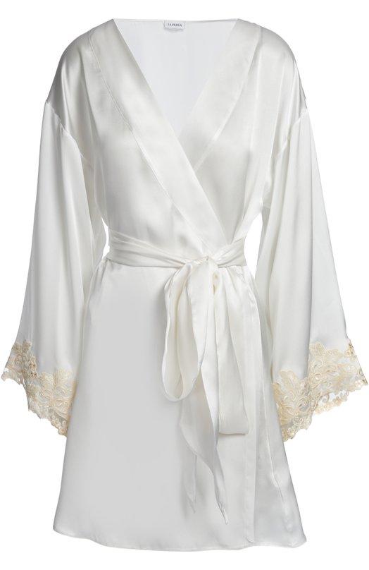 Шелковый халат с отделкой кружевом La Perla 0019230