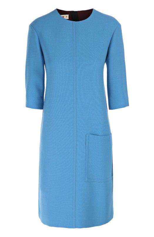 Шерстяное платье прямого кроя с накладным карманом Marni ABMAU57U00TW420