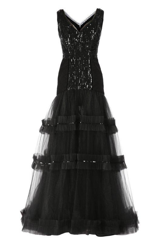 Шелковое вечернее платье с вышивкой стразами Oscar de la Renta P16E052BLK