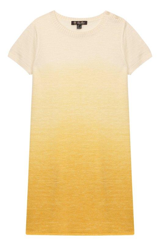 Платье из смеси кашемира, льна и шелка в технике деграде Loro PianaПлатья<br><br><br>Размер Years: 4<br>Пол: Женский<br>Возраст: Детский<br>Размер производителя vendor: 104-110cm<br>Материал: Кашемир: 46%; Лен: 27%; Шелк: 27%;<br>Цвет: Желтый