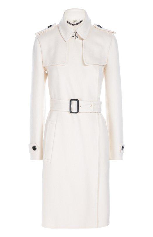 Кашемировое пальто с поясом BurberryПальто и плащи<br>Кристофер Бейли включил в коллекцию сезона осень-зима 2016 года белое кашемировое пальто, стилизованное под тренч, придуманный Томасом Берберри в конце 1890-х. Приталенная модель с запахом дополнена широким поясом с прямоугольной пряжкой, обтянутой черной кожей, отложной воротник —  металлическим крючком.<br><br>Российский размер RU: 42<br>Пол: Женский<br>Возраст: Взрослый<br>Размер производителя vendor: 8<br>Материал: Кашемир: 100%;<br>Цвет: Белый