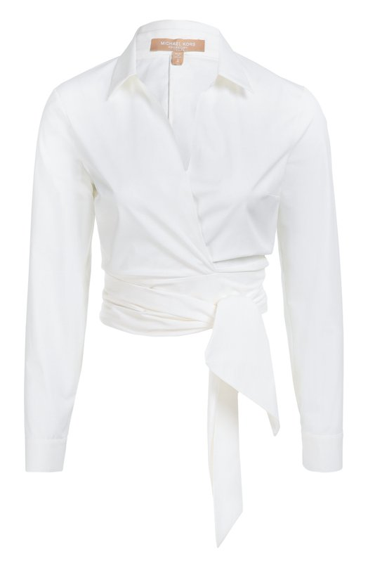 Укороченная хлопковая блуза с поясом Michael KorsБлузы<br>Майкл Корс включил в коллекцию сезона осень-зима 2016 года укороченную белоснежную рубашку из тонкого эластичного хлопка. Модель с запахом, глубоким V-образным вырезом и длинными рукавами завязывается на длинный пояс, который можно обернуть вокруг талии несколько раз.<br><br>Российский размер RU: 48<br>Пол: Женский<br>Возраст: Взрослый<br>Размер производителя vendor: 10<br>Материал: Хлопок: 96%; Эластан: 4%;<br>Цвет: Белый