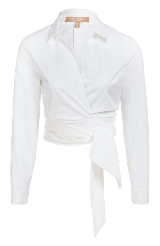 Укороченная хлопковая блуза с поясом Michael Kors KPH324A/KH028