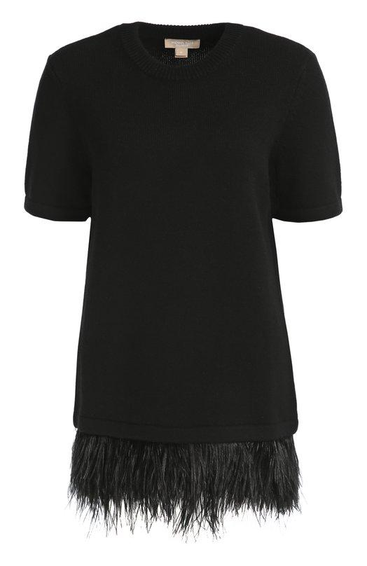 Кашемировый пуловер с оборкой Michael KorsСвитеры<br>В коллекцию сезона осень-зима 2016 года вошел трикотажный топ прямого кроя, с короткими рукавами и круглой горловиной. Мастера марки связали черную модель из мягкой кашемировой пряжи. Майкл Корс декорировал низ легкими страусиными перьями, выкрашенными в тон.<br><br>Российский размер RU: 40<br>Пол: Женский<br>Возраст: Взрослый<br>Размер производителя vendor: XS<br>Материал: Кашемир: 94%; Полиамид: 4%; Эластан: 2%;<br>Цвет: Черный
