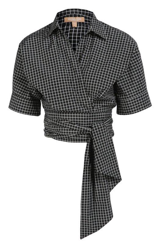 Укороченная хлопковая блуза с поясом Michael KorsБлузы<br>Майкл Корс дополнил укороченную блузу с коротким рукавом широким поясом-лентой, длины которого хватит, чтобы обернуть его вокруг талии несколько раз. Для создания модели с запахом использован мягкий шелк в черно-белую тетрадную клетку, актуальную в сезоне осень-зима 2016 года.<br><br>Российский размер RU: 42<br>Пол: Женский<br>Возраст: Взрослый<br>Размер производителя vendor: 4<br>Материал: Шелк: 53%; Хлопок: 47%;<br>Цвет: Черно-белый