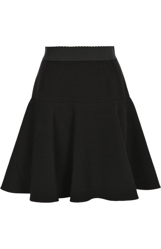 Расклешенная юбка с эластичным поясом Dolce &amp; GabbanaЮбки<br>Расклешенная юбка из шерстяной ткани стрейч дополнена широким эластичным поясом. Доменико Дольче и Стефано Габбана включили короткую модель черного цвета в коллекцию сезона осень-зима 2016 года. Изделие застегивается на боковую молнию.<br><br>Российский размер RU: 42<br>Пол: Женский<br>Возраст: Взрослый<br>Размер производителя vendor: 40<br>Материал: Шерсть: 75%; Полиамид: 23%; Эластан: 2%; Подкладка-шелк: 100%;<br>Цвет: Черный