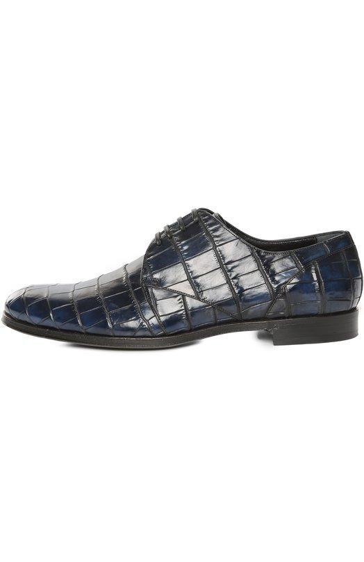 Туфли из кожи крокодила с набором аксессуаров Dolce &amp; GabbanaТуфли<br>Ультрастильные мужские туфли, выполненные из крокодилловой кожи темно-зеленого оттенка. Такая пара - залог успешного делового образа.<br><br>Российский размер RU: 40<br>Пол: Мужской<br>Возраст: Взрослый<br>Размер производителя vendor: 40<br>Материал: Стелька-кожа: 100%; Подошва-кожа: 100%; Кожа/крокодил/: 100%;<br>Цвет: Синий