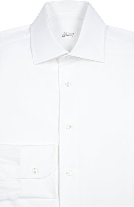Купить Хлопковая сорочка с воротником кент Brioni, RCL0/PZ004, Италия, Белый, Хлопок: 100%;