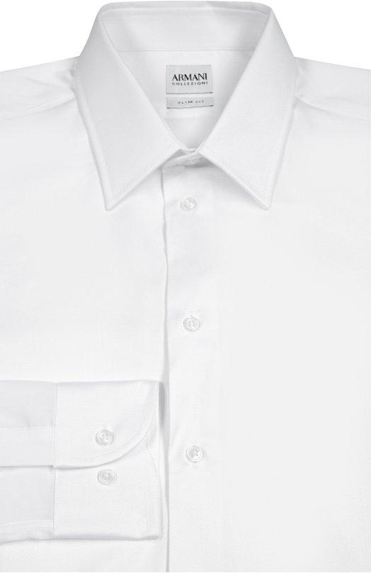 Хлопковая сорочка с воротником кент Armani CollezioniРубашки<br>В коллекцию сезона осень-зима 2016 года вошла белоснежная рубашка с воротником кент и длинными рукавами. Джорджио Армани выбрал для создания модели мягкий хлопок. Рекомендуем носить с темным костюмом, бордовым галстуком и коричневыми брогами.<br><br>Российский размер RU: 43<br>Пол: Мужской<br>Возраст: Взрослый<br>Размер производителя vendor: 43<br>Материал: Хлопок: 100%;<br>Цвет: Белый