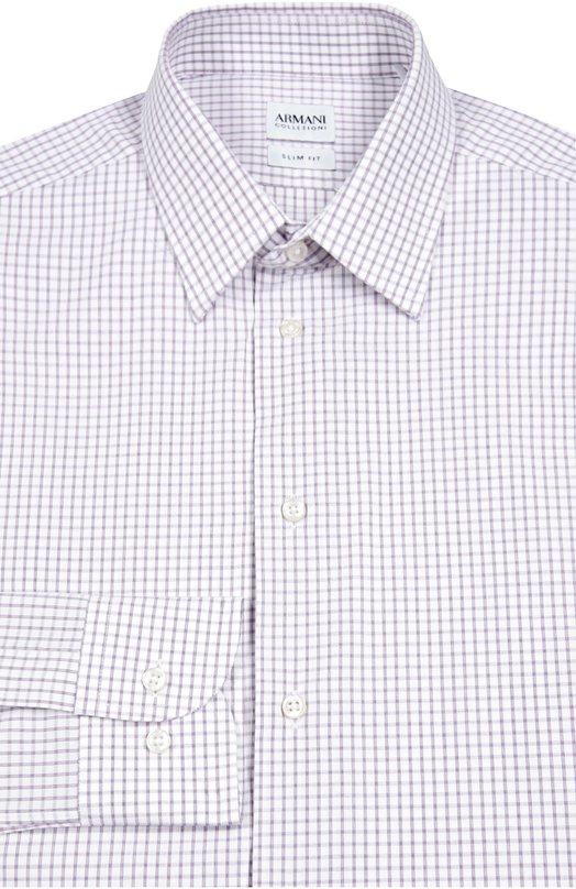 Хлопковая сорочка в клетку Armani CollezioniРубашки<br>Мастера марки сшили рубашку с воротником кент и длинными рукавами, дополненными регулируемыми манжетами, из мягкого хлопка в сиреневую клетку. Джорджио Армани включил модель в осенне-зимнюю коллекцию 2016 года. Предлагаем сочетать с темными брюками, черными ботинками и бордовым жилетом.<br><br>Российский размер RU: 40<br>Пол: Мужской<br>Возраст: Взрослый<br>Размер производителя vendor: 40<br>Материал: Хлопок: 100%;<br>Цвет: Светло-сиреневый