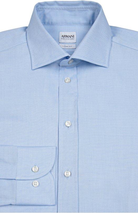 Сорочка из фактурного хлопка Armani CollezioniРубашки<br>Голубая приталенная рубашка вошла в осенне-зимнюю коллекцию бренда, основанного Джорджио Армани. Модель с длинными рукавами и воротником кент выполнена из плотного фактурного хлопка. Рекомендуем носить темным костюмом, черными оксфордами и синим галстуком.<br><br>Российский размер RU: 42<br>Пол: Мужской<br>Возраст: Взрослый<br>Размер производителя vendor: 42<br>Материал: Хлопок: 100%;<br>Цвет: Голубой