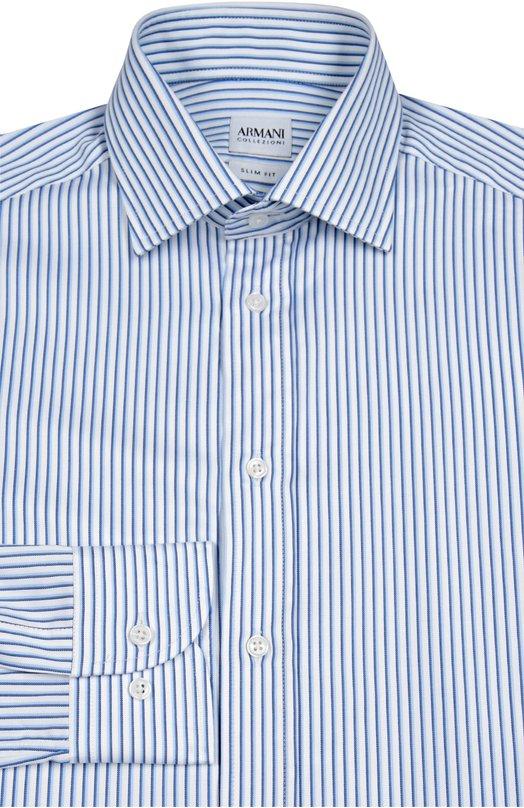 Хлопковая сорочка в полоску Armani CollezioniРубашки<br>Мастера бренда, основанного Джорджио Армани, сшили синюю рубашку в полоску из гладкого хлопка. Приталенная модель с воротником кент вошла в коллекцию сезона осень-зима 2016 года. Длинные рукава дополнены манжетами итальянского типа.<br><br>Российский размер RU: 42<br>Пол: Мужской<br>Возраст: Взрослый<br>Размер производителя vendor: 42<br>Материал: Хлопок: 100%;<br>Цвет: Синий