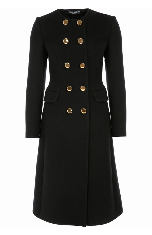Приталенное двубортное пальто с круглым вырезом Dolce & Gabbana 0102/F0Q30T/FUBDT