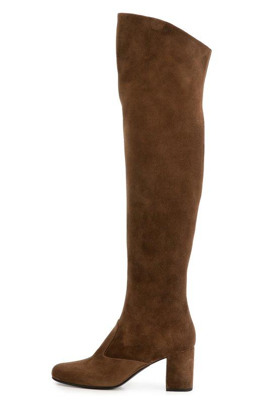 Замшевые ботфорты Babies на устойчивом каблуке Saint LaurentСапоги<br>В осенне-зимнюю коллекцию марки, основанной Ивом Сен-Лораном, вошли ботфорты Babies на устойчивом квадратном каблуке. Для создания модели была использована бархатистая замша коричневого цвета. Обувь застегивается на короткую молнию, расположенную с внутренней стороны.<br><br>Российский размер RU: 37<br>Пол: Женский<br>Возраст: Взрослый<br>Размер производителя vendor: 37-5<br>Материал: Стелька-кожа: 100%; Подошва-кожа: 100%; Замша натуральная: 100%;<br>Цвет: Коричневый
