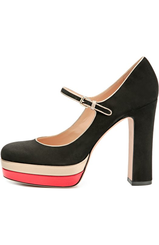 Замшевые туфли Pop Plain на устойчивом каблуке ValentinoТуфли<br>Мария Грация Кьюри и Пьерпаоло Пиччоли включили в осенне-зимнюю коллекцию 2016 года туфли Pop Plain на высоком каблуке и платформе, обтянутой контрастной кожей. Мастера марки, основанной Валентино Гаравани, создали модель из бархатистой черной замши. Обувь фиксируется на щиколотке тонким ремешком.<br><br>Российский размер RU: 40<br>Пол: Женский<br>Возраст: Взрослый<br>Размер производителя vendor: 40-5<br>Материал: Стелька-кожа: 100%; Подошва-кожа: 100%; Замша натуральная: 100%; Отделка замша натуральная: 100%;<br>Цвет: Черный