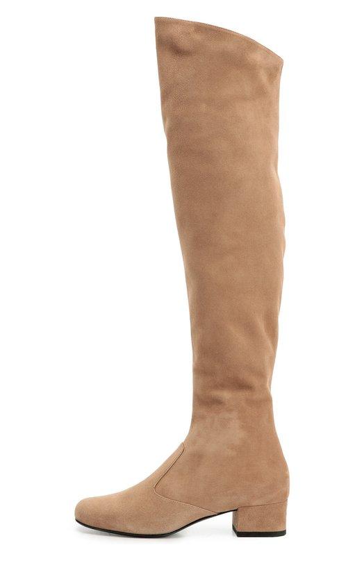 Замшевые ботфорты Babies на устойчивом каблуке Saint LaurentСапоги<br>В осенне-зимнюю коллекцию марки, основанной Ивом Сен-Лораном, вошли сапоги из бархатистой бежевой замши. Модель Babies с круглым мысом, на низком устойчивом каблуке застегивается на молнию сбоку. Для дополнительного комфорта на голенище с внутренней стороны предусмотрена небольшая эластичная вставка.<br><br>Российский размер RU: 36<br>Пол: Женский<br>Возраст: Взрослый<br>Размер производителя vendor: 36-5<br>Материал: Стелька-кожа: 100%; Подошва-кожа: 100%; Замша натуральная: 100%;<br>Цвет: Бежевый