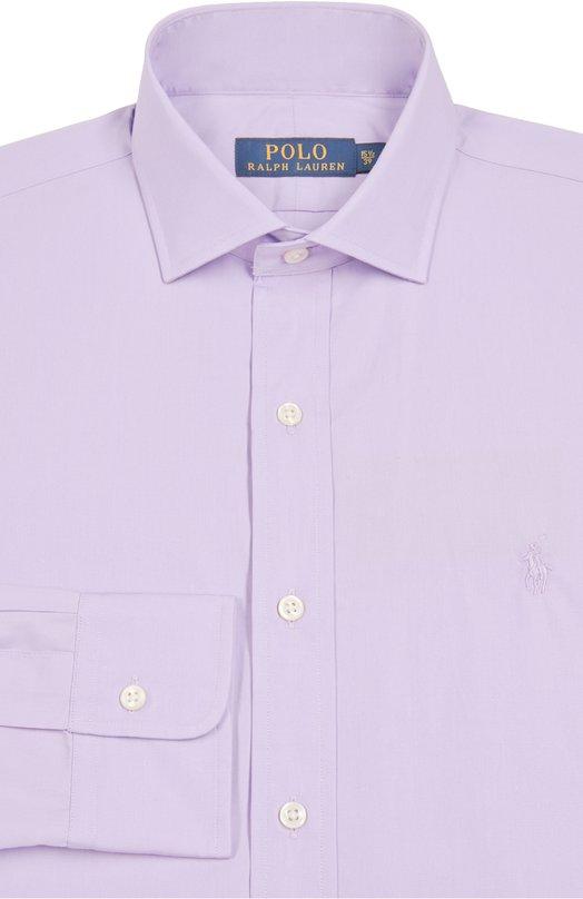 Хлопковая сорочка с воротником кент Polo Ralph LaurenРубашки<br>Ральф Лорен включил в коллекцию сезона осень-зима 2016 года приталенную рубашку с воротником кент. Модель сшита из тонкого гладкого хлопка светло-сиреневого оттенка. Изделие и манжеты длинных рукавов застегиваются на белые перламутровые пуговицы. На груди — вышивка в виде игрока в поло.<br><br>Российский размер RU: 38<br>Пол: Мужской<br>Возраст: Взрослый<br>Размер производителя vendor: 15<br>Материал: Хлопок: 100%;<br>Цвет: Светло-сиреневый