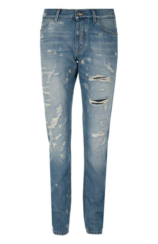 Зауженные джинсы с потертостями и нашивкой Dolce & Gabbana 0101/G60NLZ/G8S99