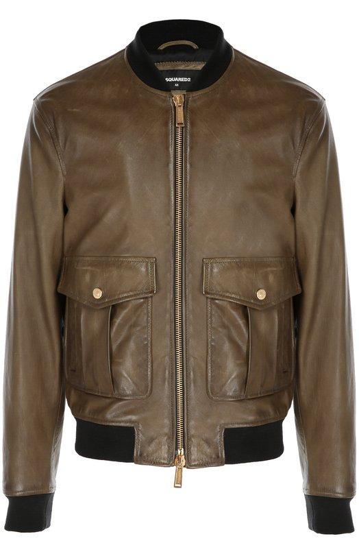 Кожаная куртка-бомбер Pilot Dsquared2 S74AM0644/SX9861