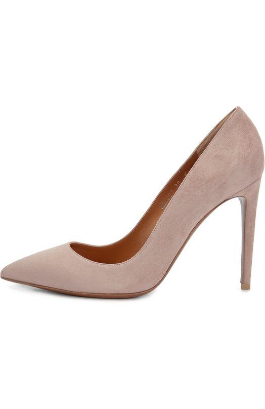 Замшевые туфли на шпильке Ralph LaurenТуфли<br>Светло-розовые туфли-лодочки вошли в коллекцию сезона осень-зима 2016 года. Мастера бренда произвели модель на высоком тонком каблуке и с зауженным мысом из бархатистой замши шевро. Для подкладки модели Celia Ральф Лорен традиционно выбрал гладкую кожу орехового цвета.<br><br>Российский размер RU: 36<br>Пол: Женский<br>Возраст: Взрослый<br>Размер производителя vendor: 36<br>Материал: Стелька-кожа: 100%; Подошва-кожа: 100%; Замша натуральная: 100%;<br>Цвет: Розовый