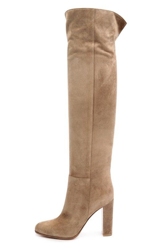 Замшевые ботфорты Cuissard на устойчивом каблуке Gianvito RossiСапоги<br>Для создания модели Cuissard Джанвито Росси выбрал бархатистую замшу темно-бежевого цвета. Ботфорты на устойчивом высоком каблуке, с круглым мысом вошли в коллекцию сезона осень-зима 2016 года. Благодаря разрезу сзади обувь легко надевать и снимать.<br><br>Российский размер RU: 37<br>Пол: Женский<br>Возраст: Взрослый<br>Размер производителя vendor: 37-5<br>Материал: Кожа натуральная: 100%; Стелька-кожа: 100%; Подошва-кожа: 100%; Подошва-резина: 100%;<br>Цвет: Бежевый