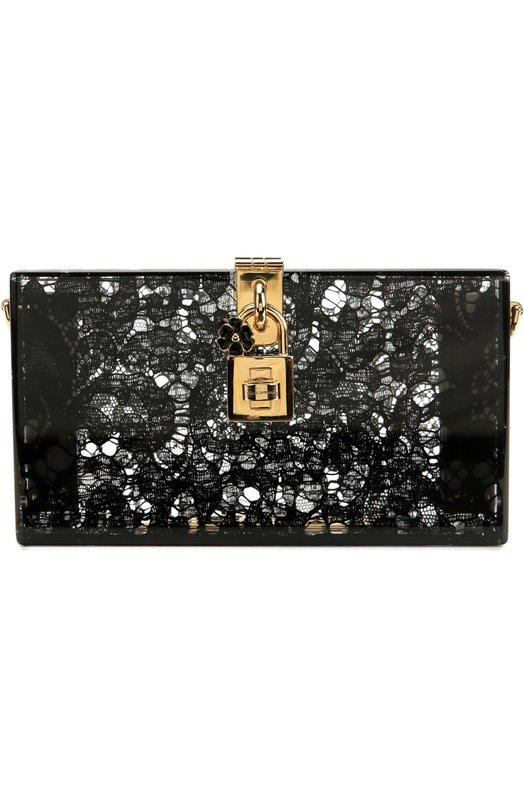 Купить Клатч Dolce Box с кружевом Dolce & Gabbana, 0116/BB6232/AD762, Италия, Черный, Плексиглас: 90%; Вискоза: 5%; Хлопок: 4%; Полиамид: 1%;