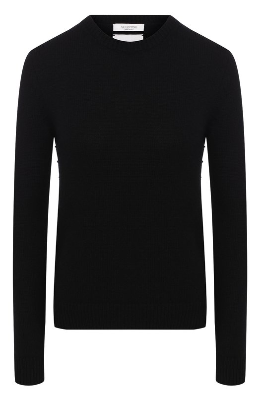 Кашемировый пуловер с круглым вырезом и заклепками ValentinoСвитеры<br>Черный пуловер Rockstud Untitled из тонкого кашемира вошел в осенне-зимнюю коллекцию марки, основанной Валентино Гаравани. На создание этой линии одежды, состоящей из базовых вещей, дизайнеров бренда вдохновила японская философия «Ваби-саби». Боковые швы модели украшены шипами-пирамидами.<br><br>Российский размер RU: 52<br>Пол: Женский<br>Возраст: Взрослый<br>Размер производителя vendor: XL<br>Материал: Кашемир: 100%;<br>Цвет: Черный