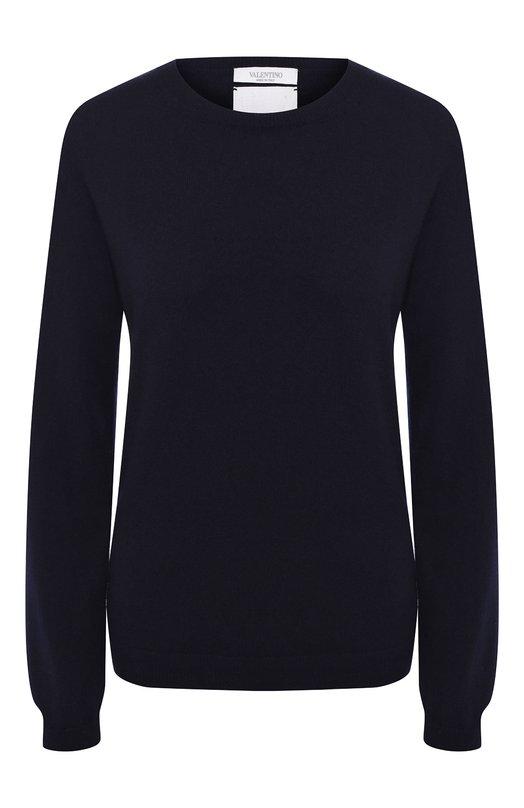 Купить Кашемировый пуловер с круглым вырезом и заклепками Valentino, LB3KC17M/2TD, Италия, Синий, Кашемир: 100%;