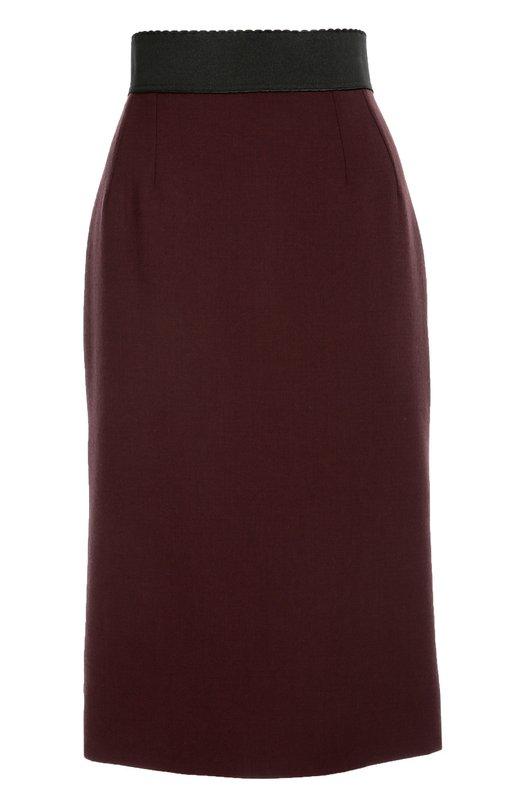 Облегающая юбка с широким поясом Dolce &amp; GabbanaЮбки<br>Бордовая юбка-карандаш с широким эластичным поясом вошла в осенне-зимнюю коллекцию 2016 года. Доменико Дольче и Стефано Габбана выбрали для создания модели тонкий шерстяной креп. Изделие застегивается сзади на молнию. Рекомендуем носить с белым топом, босоножками и клатчем черного цвета.<br><br>Российский размер RU: 40<br>Пол: Женский<br>Возраст: Взрослый<br>Размер производителя vendor: 38<br>Материал: Шерсть: 99%; Шелк: 94%; Эластан: 6%;<br>Цвет: Бордовый