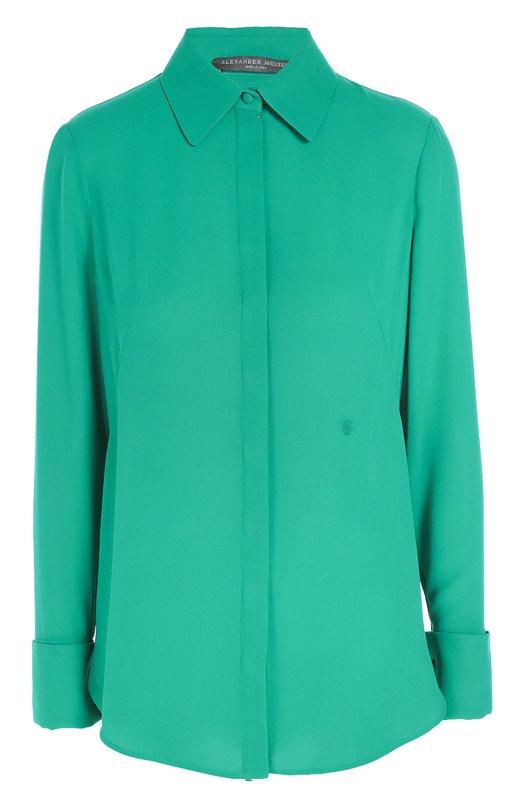 Шелковая блуза прямого кроя с удлиненной спинкой Alexander McQueen 436576/QHB07
