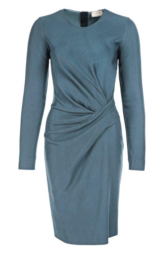 Облегающее платье с длинным рукавом и драпировкой LanvinПлатья<br>&amp;bull; Москва 980 EUR (68 600 RUB)&amp;bull; Милан 1 350 EUR&amp;bull; Лондон 1 089 EUR (980 GBP)&amp;bull; Дубай 1 420 EUR (5 750 AED)Синее платье-футляр с длинными рукавами и круглым вырезом вошло в осенне-зимнюю коллекцию бренда, основанного Жанной Ланван. Модель из тонкого вискозного джерси украшена драпировкой на поясе. Рекомендуем сочетать с туфлями и сумкой черного цвета.<br><br>Российский размер RU: 46<br>Пол: Женский<br>Возраст: Взрослый<br>Размер производителя vendor: 42<br>Материал: Вискоза: 99%; Эластан: 1%;<br>Цвет: Синий