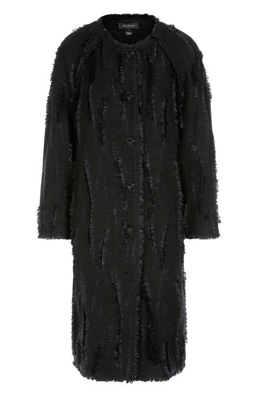 Пальто прямого кроя с круглым вырезом и бахромой St. John K62H073
