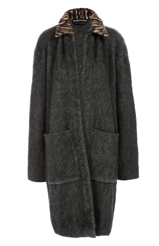 Пальто прямого кроя с накладными карманами и контрастным воротником Rochas R0PI751967/RIY2102A