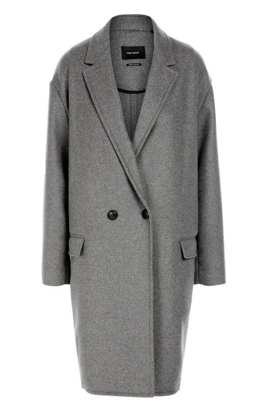 Двубортное пальто со спущенным рукавом Isabel MarantПальто и плащи<br>Изабель Маран включила в коллекцию сезона осень-зима 2016 года серое двубортное пальто Filipa силуэта оверсайз, с отложным воротником, заостренными лацканами и врезными боковыми карманами. Модель без подкладки, с заниженной линией плеча сшита из плотной ткани на основе шерсти и кашемира.<br><br>Российский размер RU: 44<br>Пол: Женский<br>Возраст: Взрослый<br>Размер производителя vendor: 40<br>Материал: Шерсть: 62%; Кашемир: 38%;<br>Цвет: Серый