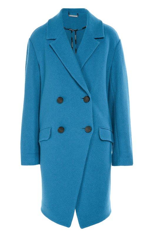 Шерстяное двубортное пальто с карманами Diane Von Furstenberg S954802G16