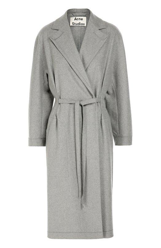 Шерстяное пальто с поясом и широкими лацканами Acne StudiosПальто и плащи<br>Серое пальто из мягкой фактурной шерсти вошло в коллекцию сезона осень-зима 2016 года. Модель дополнена длинными тонкими ремешками, вшитыми в боковые швы, которые можно завязывать как спереди, так и сзади. На спинке — две вытачки. Изделие застегивается на потайные кнопки.<br><br>Российский размер RU: 44<br>Пол: Женский<br>Возраст: Взрослый<br>Размер производителя vendor: 38<br>Материал: Шерсть: 75%; Кашемир: 5%; Полиамид: 20%;<br>Цвет: Серый
