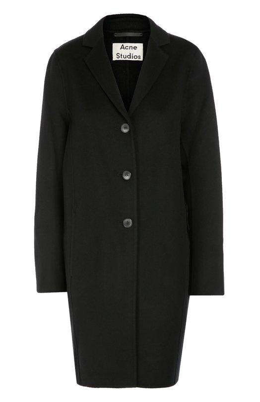 Шерстяное пальто прямого кроя Acne StudiosПальто и плащи<br>При создании угольно-черного пальто из осенне-зимней коллекции 2016 года была использована плотная шерсть с добавлением волокон кашемира, придающих особую мягкость материалу. Модель прямого кроя, с отложным воротником и боковыми врезными карманами застегивается на три пуговицы.<br><br>Российский размер RU: 46<br>Пол: Женский<br>Возраст: Взрослый<br>Размер производителя vendor: 40<br>Материал: Шерсть: 85%; Кашемир: 15%;<br>Цвет: Черный
