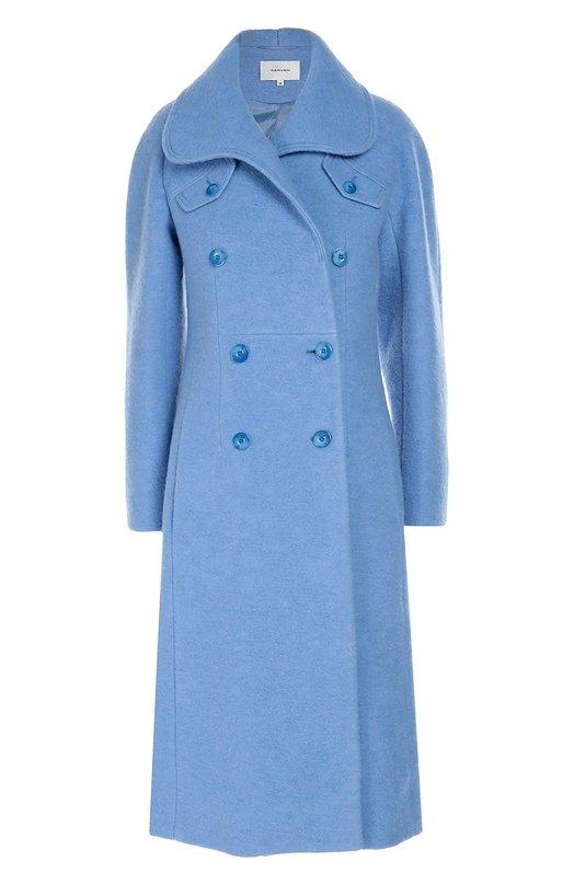 Двубортное шерстяное пальто с карманами Carven 1001M08
