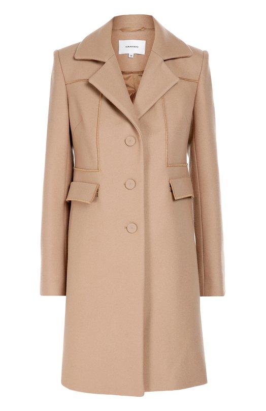 Шерстяное пальто прямого кроя с карманами Carven 1006M42