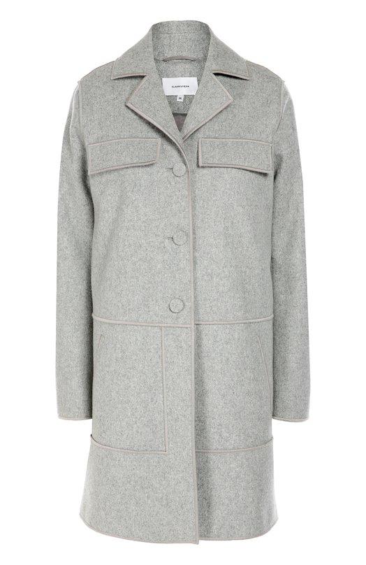 Шерстяное пальто прямого кроя с карманами Carven 1006M02